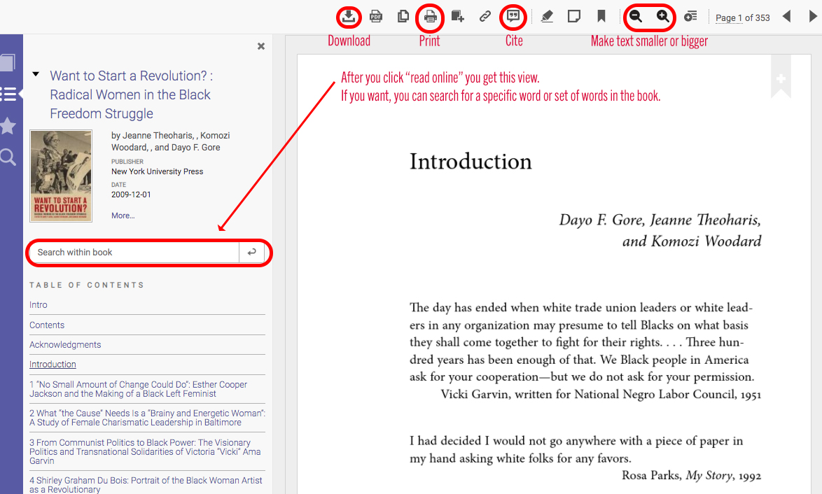 screenshot of book in read online mode with search box highlighted as well as icons for downloading, printing, citing, and increasing/decreasing text size