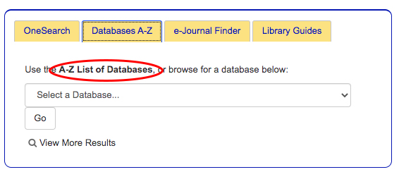 A-Z list of databases tab on front page