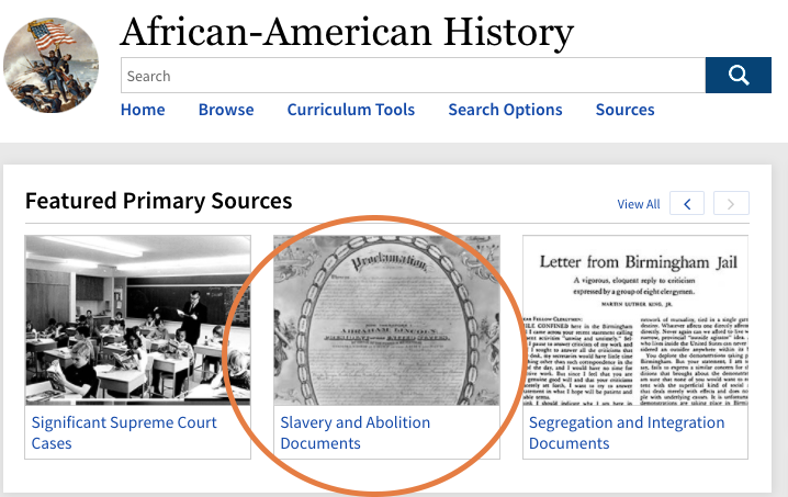 slavery and abolition primary source link on african american history database page