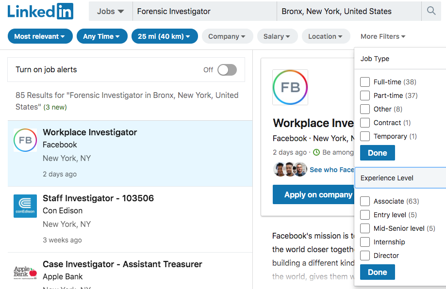 LinkedIn screenshot of search filters