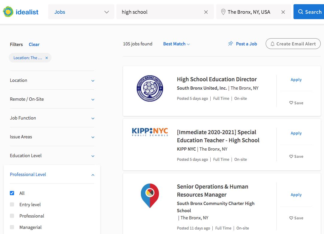 Idealist screenshot job search