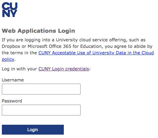 screenshot of CUNY login box