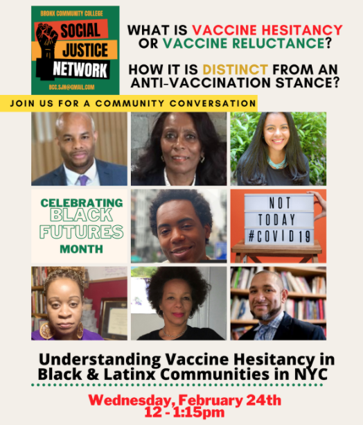 Poster for Bronx Community College discussion: What is vaccine hesitancy or vaccine reluctance? How is it distinct from an anti-vaccination stance?