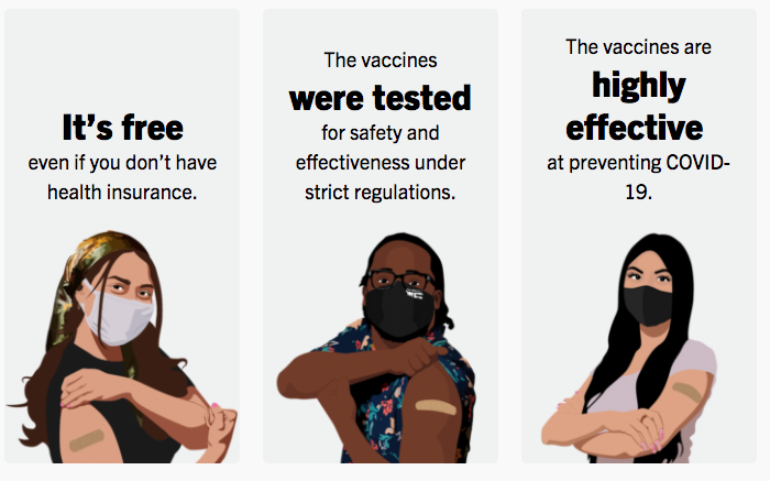 illustration of three people showing their vaccination bandages from CUNY vaccine webpage