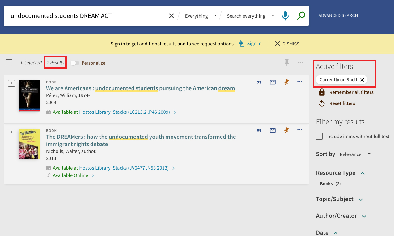 screenshot of search for undocumented students DREAM ACT showing 2 results