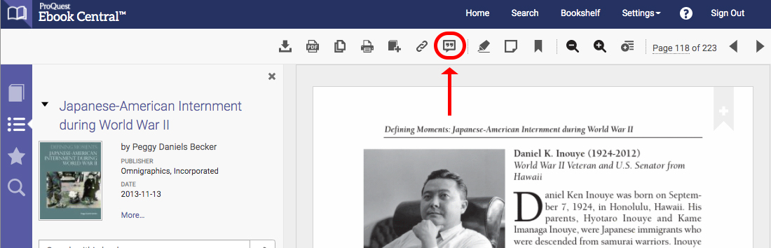 screenshot of ebook central with citation icon circled and red arrow pointing to it