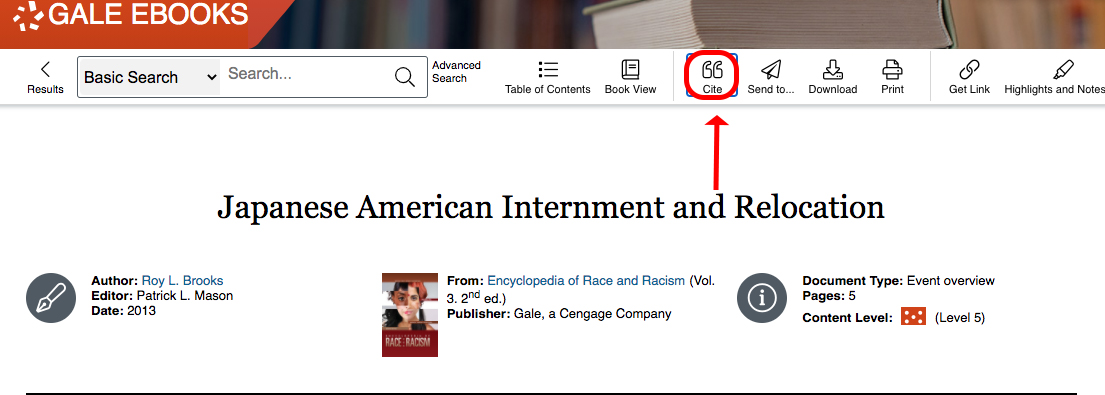 screenshot of gale ebooks with citation icon circled and red arrow pointing to it.