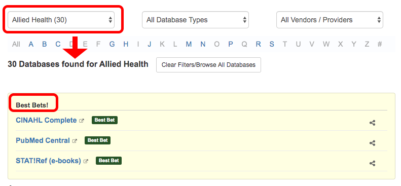 example of database listings by subject - allied health