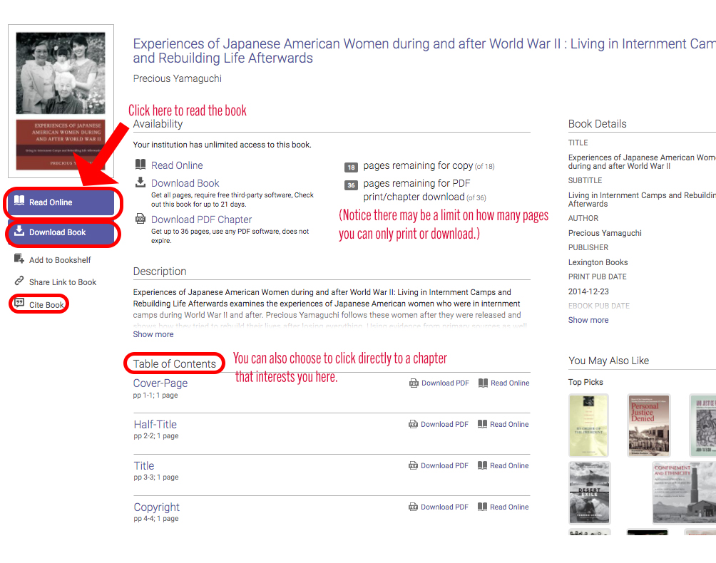 screenshot of table of contents with link to read online, information about page download limits, and chapter headings highlighted
