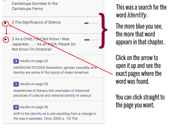 screenshot showing the results of a search, arrow and blue bars highlighted with the same instructions as given in the preceding text
