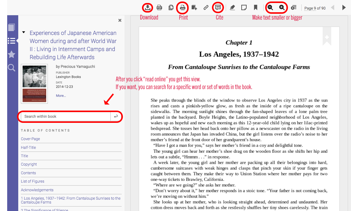 screenshot of book in read mode with icons for downloading, printing, citing, and changing text size circled