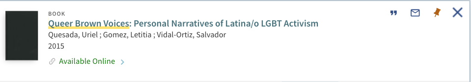 Screenshot of result for queer brown voices: personal narratives of Latina/o LGBT Activism