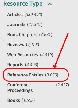 resource type menu opened - reference entries