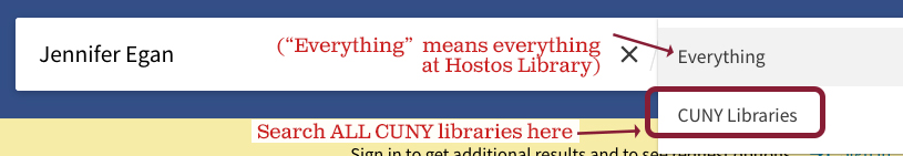 search all CUNY libraries dropdown menu