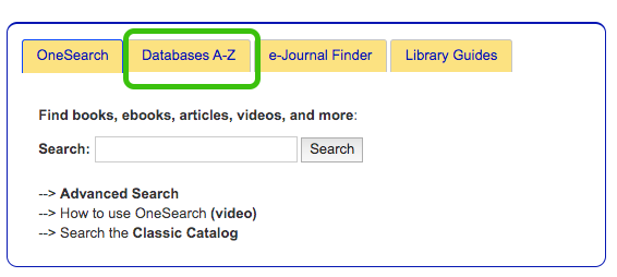 library homepage databases tab