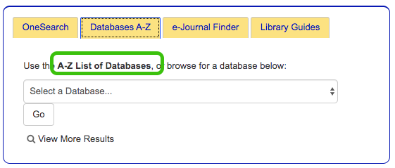 A-Z list of databases link highlighted