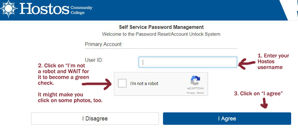 Self Service Password Management log-in page