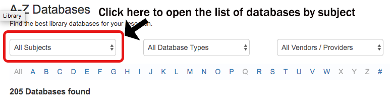 open subject list of databases