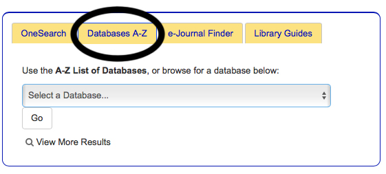 click on database tab to get list of databases