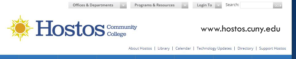 top of hostos homepage