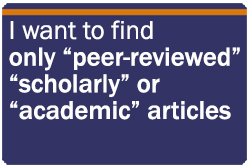 I only want peer reviewed articles
