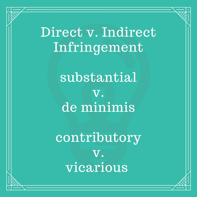 direct v. indirect infringement, substantial v. de minimis, contributory v. vicarious