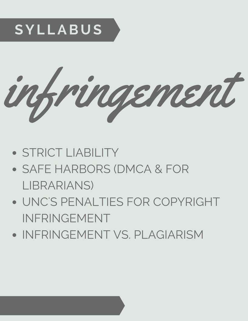 Syllabus: Infringement  o Strict liability  o Safe harbors  * DMCA  * For librarians  o UNC's penalties for copyright infringement  o Infringement vs. plagiarism