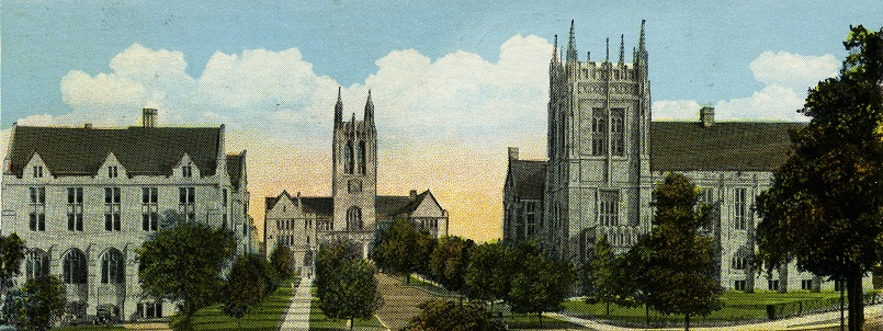 Image of postcard showing St. Mary's Hall, Gasson Hall and Ford Tower circa 1930