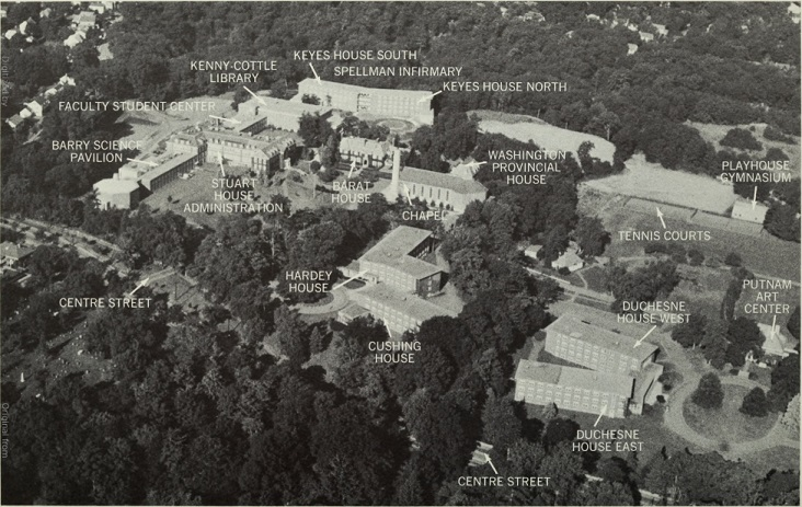 Image of aerial view of Newton College of the Sacred Heart ca. 1970