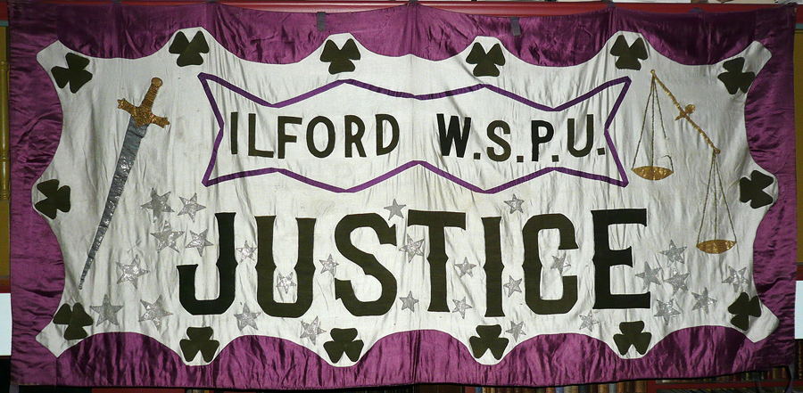 Women's Social and Political Union banner, Ilford (London), ca. 1909