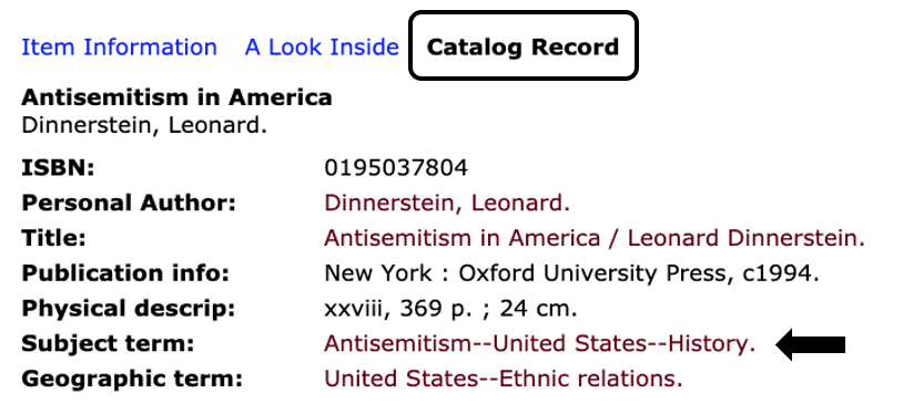 Catalog record view showing subject links