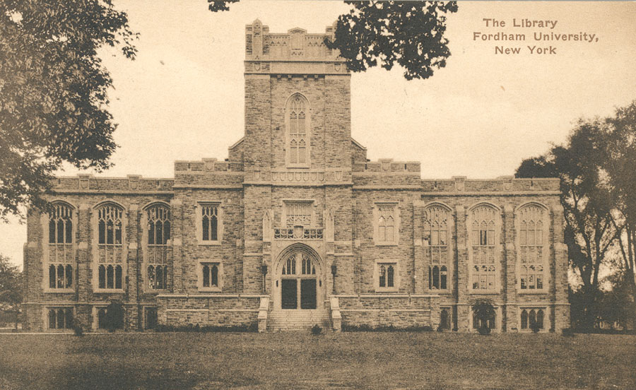 Historical postcard showing Duane Library
