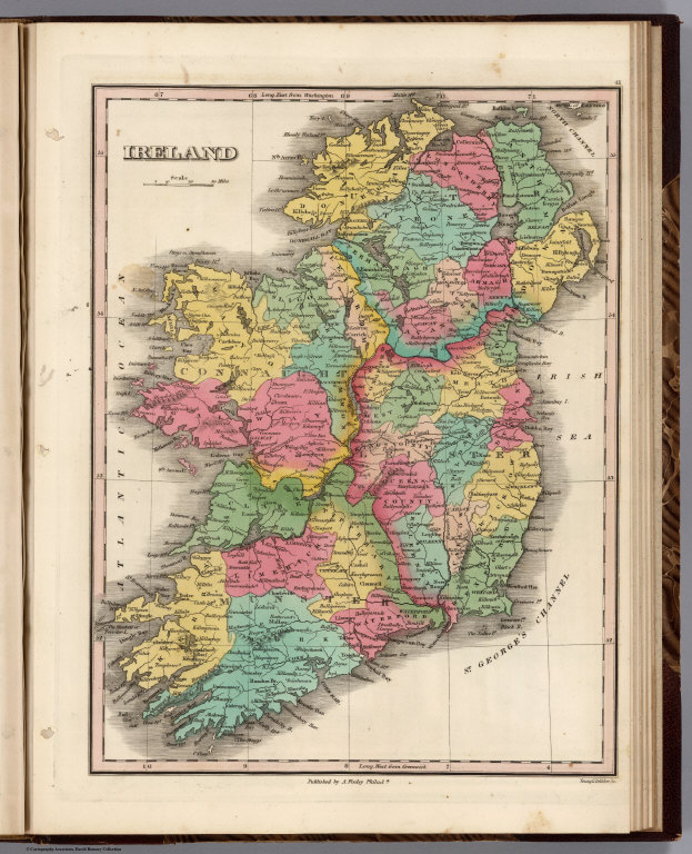 Map of Ireland showing each county in a different color