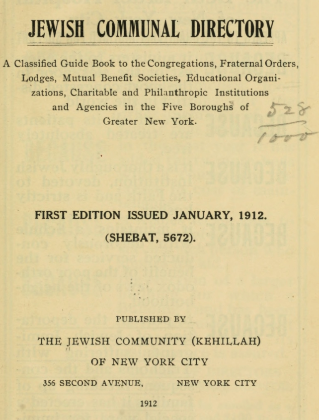 A Classified Guide Book to the Congregations, Fraternal Orders, Lodges, Mutual Benefit Societies, Educational Organizations, Charitable and Philanthropic Institutions and Agencies in the Five Boroughs of Greater New York.