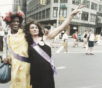 At NYC Pride March at Fifth Ave & Broadway in 1989
