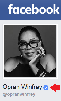 Facebook profile for Oprah Winfrey. An arrow points to the blue checkmark symbol that indicates a Facebook account has been verified.