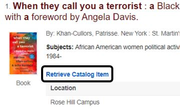 OneSearch Entry with Retrieve Catalog Item link circled