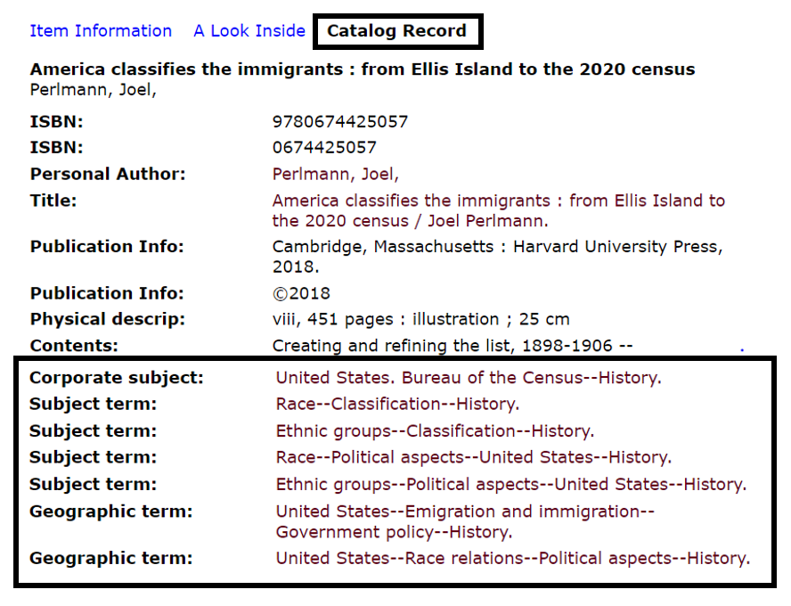 Shows Library of Congress Subject Headings in a Catalog Record