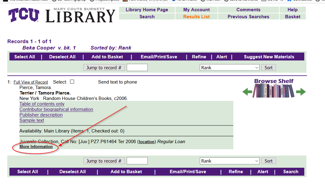 Screenshot showing more information link on a results list.