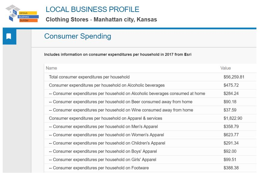 Census Business Builder reoprt page showing consumer spending for Manhattan Kansas
