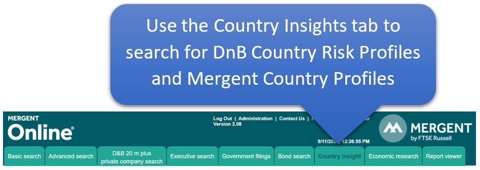 Use the Country Insights tab to find country risk profiles in Mergent Online.