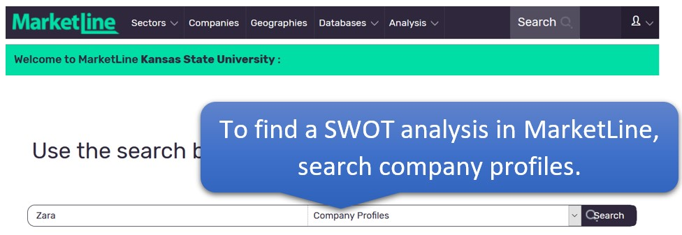 To find a SWOT Analysis in MarketLine, search company profiles.