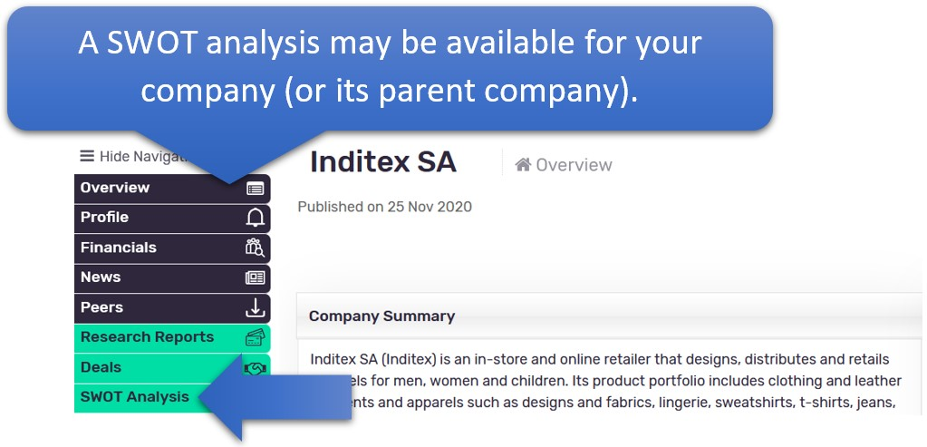 a SWOT analysis may only be available for the parent company.