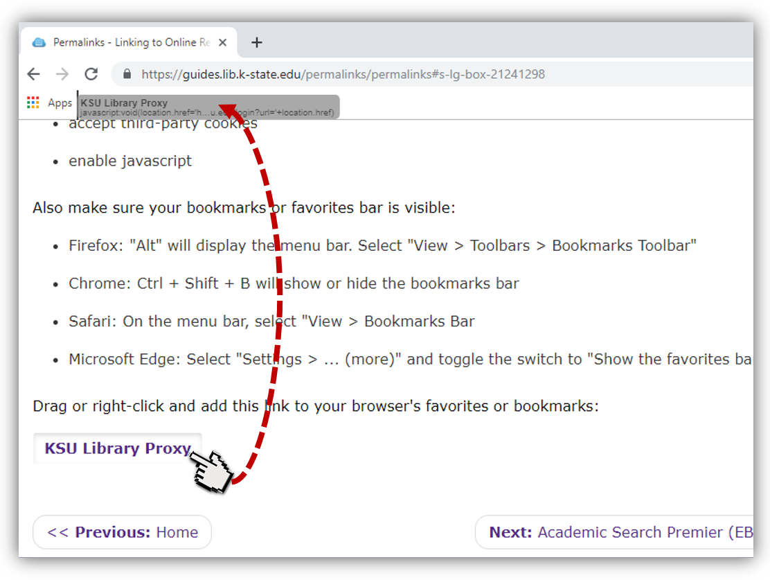 clicking and dragging bookmarklet to bookmarks bar