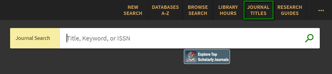 screenshot of journal search bar on website