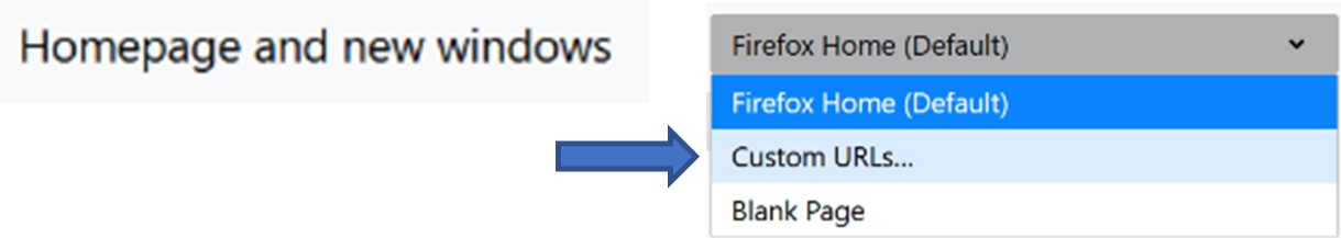 Mozilla Firefox Homepage Drop-down Menu