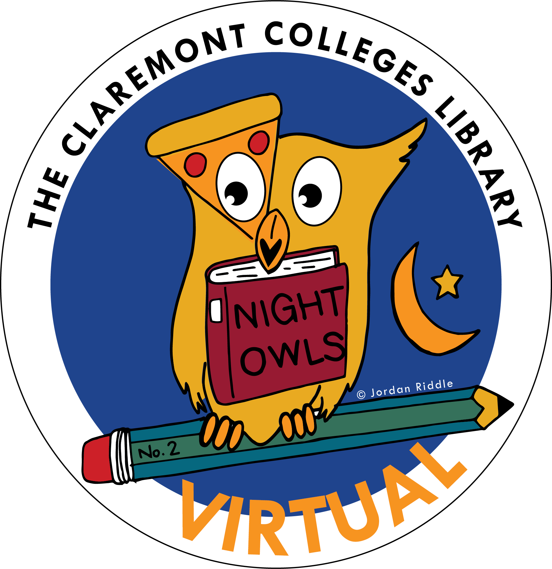 Night Owls logo. Image of a carton owl sitting on a pencil with Claremont College Library written above its head.