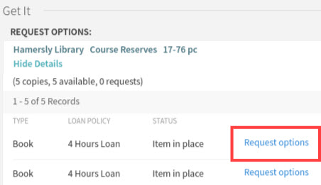 Request options in WOU Library's Primo