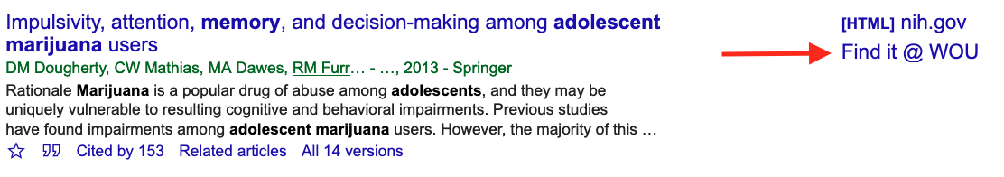 Result from Google Scholar search. Arrow points to linked Find it @ WOU file.