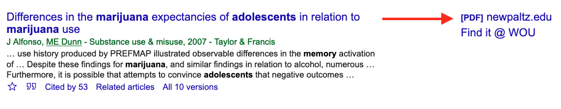Result from Google Scholar search. Arrow points to linked pdf file.